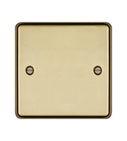 Hager Single Blank Plate (Polished Brass)