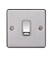 Hager 10AX 1 Gang 2 Way Wall Switch (Polished Steel)