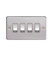 Hager 10AX 4 Gang 2 Way Wall Switch (Polished Steel)