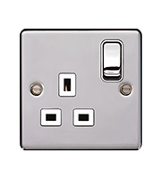 Hager 1 Gang Double Pole Switch Socket (Polished Steel)