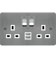 Hager 13A 2 Gang Double Pole Switched Socket c/w Twin USB Ports (Brushed Steel White)