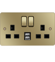 Hager 13A 2 Gang Double Pole Switched Socket c/w Twin USB Ports Polished Brass Black