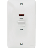 Hager 50A Double Pole 2 Gang Vertical Switch with LED (White)