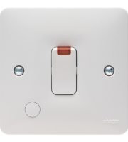 Hager 20A Double Pole Switch with Flex Outlet and Neon (White)
