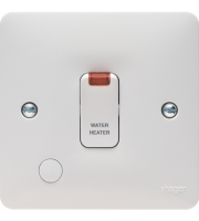 Hager Water Heater 20A Double Pole Switch with Flex Outlet & Neon (White)