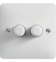 Hager 2 Gang 60-250W/Gang Rotary Push Dimmer (White)