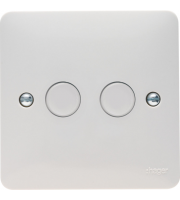 Hager 2 Gang Dimmer Switch (White)