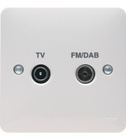 Hager Double TV/FM/DAB Coaxial Socket (White)