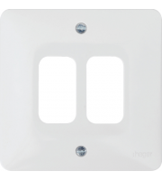 Hager 2 Gang White Moulded Grid Plate (White)