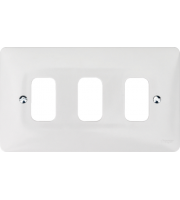 Hager 3 Gang White Moulded Grid Plate (White)