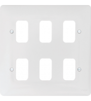 Hager 6 Gang White Moulded Grid Plate (White)