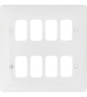 Hager 8 Gang White Moulded Grid Plate (White)
