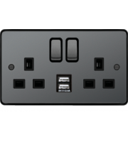 Hager 13A 2 Gang Double Pole Switched Socket c/w Twin USB Ports (Black Nickel Black)