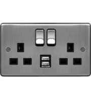 Hager 13A 2 Gang Double Pole Switched Socket c/w Twin USB Ports (Brushed Steel Black)