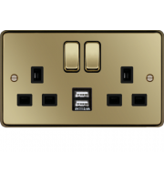 Hager 13A 2 Gang Double Pole Switched Socket c/w Twin USB Ports (Polished Brass Black)