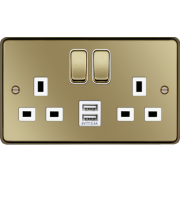 Hager 13A 2 Gang Double Pole Switched Socket c/w Twin USB Ports (Polished Brass White)