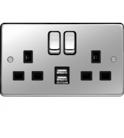 Hager 13A 2 Gang Double Pole Switched Socket c/w Twin USB Ports (Polished Steel Black)