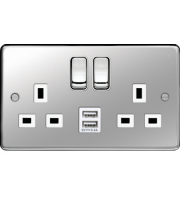 Hager 13A 2 Gang Double Pole Switched Socket c/w Twin USB Ports (Polished Steel White)