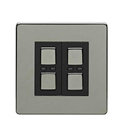 LightwaveRF 250W 2 Gang Dimmer Switch (Black)
