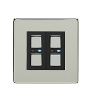 LightwaveRF 250W 2 Gang Dimmer Switch (Chrome)