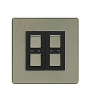 LightwaveRF 250W 2 Gang Dimmer Switch (Stainless Steel)