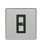 LightwaveRF 250W 1 Gang 2 Way Slave Dimmer Switch (Chrome)