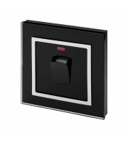 Retro Touch Crystal Glass 45A DP Switch with Neon (Black CT)