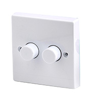 Robus Dimmer Switch 2 Gang 2 Way 250W (White)