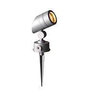 Robus GU10 50W Garden Spike with Adjustable Sloped Head (Satin Silver)