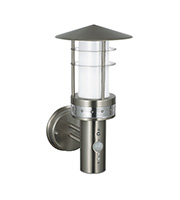 Saxby Lighting Pagoda PIR IP44 11W Wall Light (Brushed Stainless)