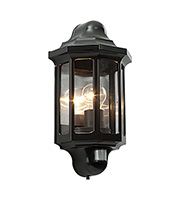 Saxby Lighting Traditional PIR IP44 60W Wall Light (Satin Black)