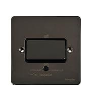 Schneider Electric GET Ultimate Flat Plate Fan Isolator Switch (Black Nickel)