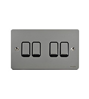 Schneider Electric GET Ultimate Flat Plate 4G 2W Switch (Polished Chrome)