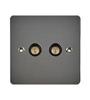Schneider Electric Ultimate Flat Plate 2G COAX Socket (Black Nickel)