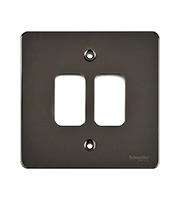Schneider Electric Ultimate Grid Metal 2 Gang Flush Plate (Black Nickel)