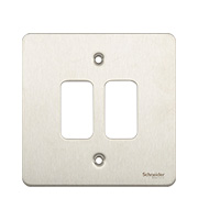 Schneider Electric Ultimate Grid Metal 2 Gang Flush Plate (Stainless Steel)