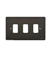 Schneider Electric Ultimate Grid Metal 3 Gang Flush Plate (Black Nickel)