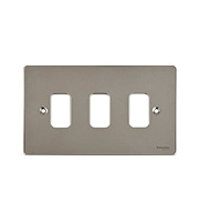 Schneider Electric Ultimate Grid Metal 3 Gang Flush Plate (Polished Chrome)