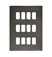 Schneider Electric Ultimate Grid Metal 12 Gang Flush Plate (Black Nickel)
