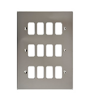 Schneider Electric Ultimate Grid Metal 12 Gang Flush Plate (Polished Chrome)