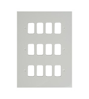 Schneider Electric Ultimate Grid Metal 12 Gang Flush Plate (Painted White)