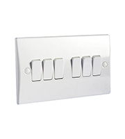 Schneider Electric GET Ultimate 6 Gang 2 Way 10A Switch (White)