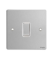Schneider Electric GET Ultimate Flat Plate 1 Gang 1 Way Switch (Stainless Steel)