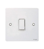 Schneider Electric GET Ultimate Flat Plate 1 Gang Intermediate Switch (White Metal)