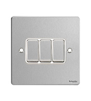 Schneider Electric GET Ultimate 3G 2 Way Switch (Stainless Steel)