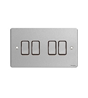 Schneider Electric GET Ultimate Flat Plate 4G 2 Way Switch (Stainless Steel)