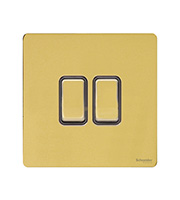 Schneider Electric Screwless Flat Plate 2G 2 Way Switch (Polished Brass)