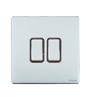 Schneider Electric Screwless Flat Plate 2G 2W Switch (Polished Chrome)