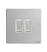Schneider Electric Screwless Flat Plate 2G 2 Way Switch (Stainless Steel)