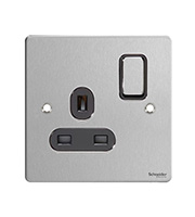 Schneider Electric GET Ultimate Flat Plate 1G Switch Socket (Stainless Steel)